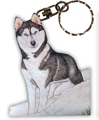 Husky Keychain Wooden Key Ring
