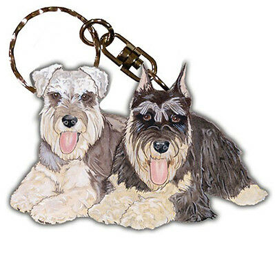 Schnauzer Keychain Wooden Key Ring