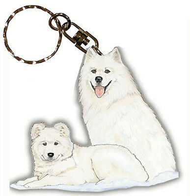 Samoyed Keychain Wooden Dog Key Ring