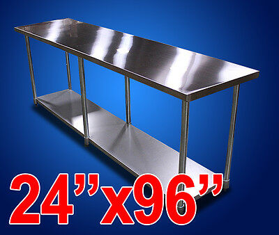 "New Commercial Kitchen Restaurant Stainless Steel Prep Work Table - 24""x96"" NSF"