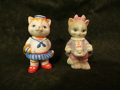 1993 BC SRILANKA 2 CAT FIGURINES ADORABLE 3 INCHES TALL GOOD CONDITION