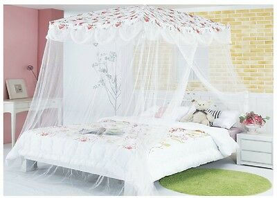 New Bed Canopy Mosquito Net Red Flower Princess bedding fits twin / Queen