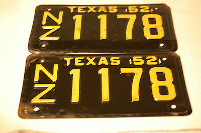 Texas License Plates Matching PAIR NZ1178 1952 Vintage Antique