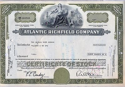 The Atlantic Richfield Company Stock Certificate Oil Refining BP Olive
