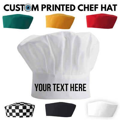 Personalised Chef Hat - Skull Cap Custom Kiss Cook Christmas BBQ Baker Your Text