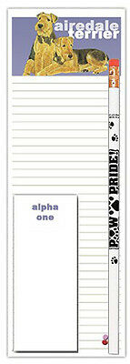 Airedale Dog Notepads To Do List Pad Pencil Gift Set