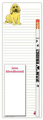 Bloodhound Dog Notepads To Do List Pad Pencil Gift Set