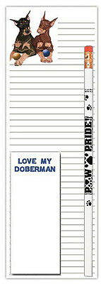 Doberman Pinscher Dog Notepads To Do List Pad Pencil Gift Set