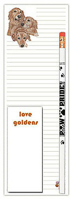 Golden Retriever Dog Notepads To Do List Pad Pencil Gift Set