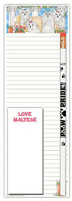 Maltese List Pad To Do Notepad Pencil Gift Set