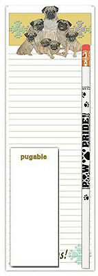 Pug Dog Notepads To Do List Pad Pencil Gift Set