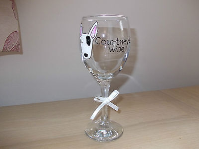 Hand Painted English Bullterrier  Personalised Wine Glass Christmas, Birthday