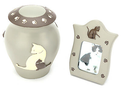 Pet Cremation Ashes Urn - Selby Cat Urn (UU520003B)- WITH FREE PHOTO FRAME