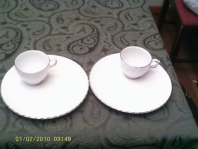 Set of Two Burleigh Ware White With Gold Snack Sets