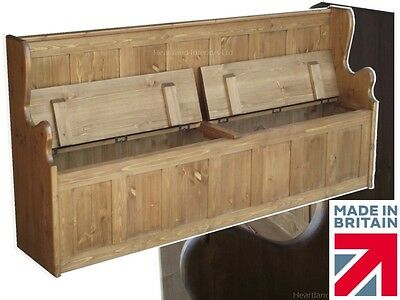Solid Pine Monks Bench, 6ft Wide Hallway Settle Seat & Lifting Lid Shoe Storage