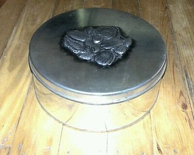 VINTAGE PEWTER COOKIE, SEWING TIN WITH LID DESIGNS BY METZKE INC.