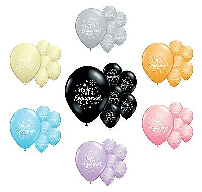 """8 x HAPPY ENGAGEMENT 12"""" HELIUM QUALITY PEARLISED BALLOONS IN 7 COLOURS (PA)"""