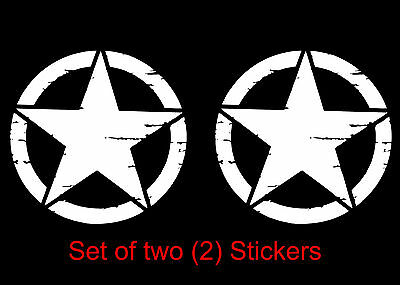 Military Star Distressed Decal Vinyl Precision Cut Jeep Sticker Army 2-PACK *
