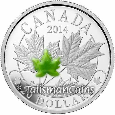 Canada 2014 Majestic Maple Leaves $20 SML w/ Jade Pure Silver Proof Leaf in OGP