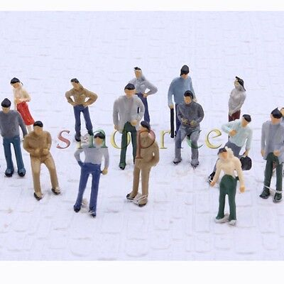 100pcs Boutique Model 1:75 Scale OO Gauge Painted Miniatures People Layout