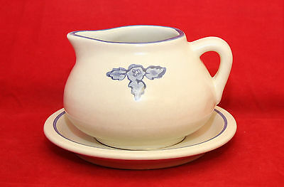 Pfaltzgraff Yorktowne Gravy Boat and Plate Pitcher RETIRED White and Blue