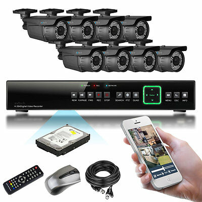 8 x 1000TVL 60M IR Cut Outdoor 2.8-12mm8 CH Home & Business P2P CCTV Package 2TB
