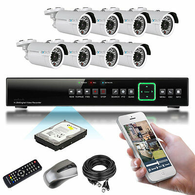 8 x 1000TVL CMOS IR Cut Infrared Outdoor 8 Channel Cloud P2P CCTV System 2000GB