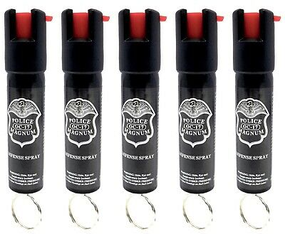 5 PACK Police Magnum pepper spray 3/4oz ounce Keyring Safety Defense Security