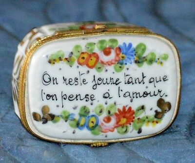 BEAUTIFUL SIGNED SEVRES 'H' SNUFF OR PILL BOX FLORAL GOLD GILT HAND DECORATED