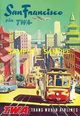 """TWA  Airlines (SAN FRANCISCO) 11"""" x 17"""" Collector's Travel Poster Print - B2G1F"""