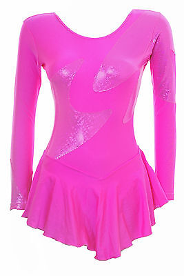 Skating Dress - TOFFEE PINK LYCRA / HOLOGRAM PINK L/S ALL SIZES AVAILABLE (S102)