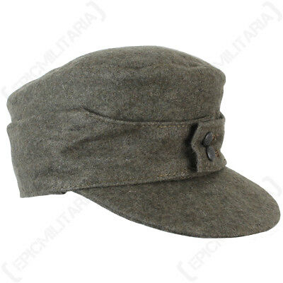 German Army M43 HEER SKI CAP Field Grey Wool - All Sizes - WW2 Repro Peaked Hat