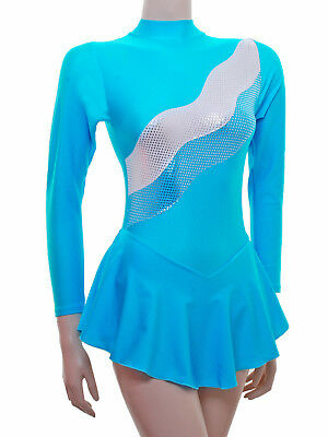 Skating Dress- RIPPLE KINGFISHER LYCRA + METALIC- ALL SIZES AVAILABLE - (S108)