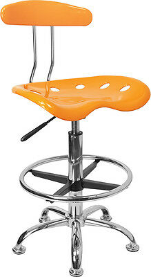 Flash Furniture Vibrant Orange-Yellow and Chrome Drafting Stool with Tractor...