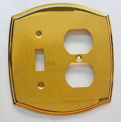 Solid Brass Polished Single Toggle Light Switch Duplex Outlet Wall Plate Cover
