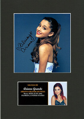 Ariana Grande Signed Mounted Print, Autographed  Brand New12x8 sealed