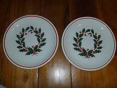 """Taylor Smith Taylor Holiday Wreath Ironstone 2 Dinner Plates (10 5/8"""")"""
