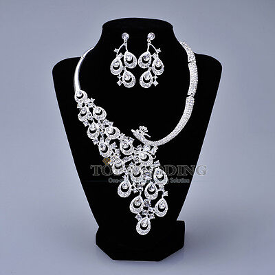 Vintage Peafowl Silver Alloy Wedding Jewellery Set Crystal Necklace Earrings Set