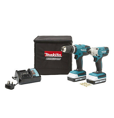 Makita 18v Cordless Li-ion Combi Hammer Drill & Impact Driver Twin Pack Set