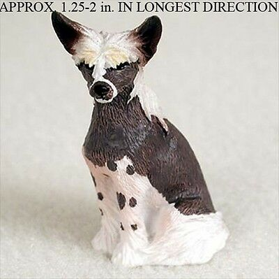 Chinese Crested Mini Resin Hand Painted Dog Figurine Statue