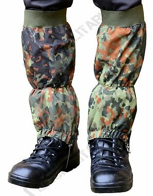 Military WATERPROOF RIPSTOP Hiking Walking GAITERS - Flecktarn Camo - Heavy Duty