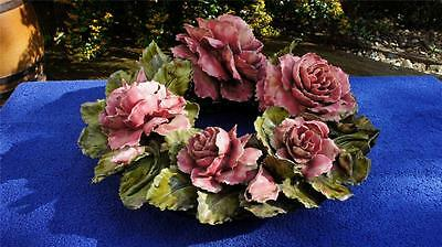 Stunning Rare French Antique, 19th C Majolica Barbotine Rose Wreath.