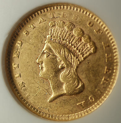 1856 Upright 5 $1 One Dollar Gold Coin NGC AU-55 Very Scarce Variety CK