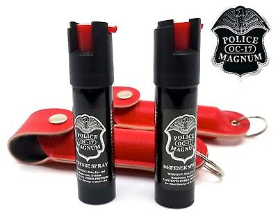 2 PACK Police Magnum pepper spray 3/4oz Red Keychain Holster Defense Security