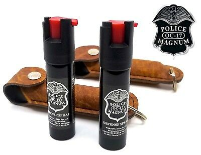 2 PACK Police Magnum pepper spray 3/4oz Tan Keychain Holster Defense Security