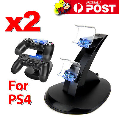 2x PlayStation PS4 Controller LED Charger Dock Station Dual USB Charging Stand