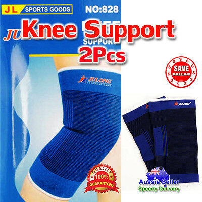1 Pair Elastic Stretch Knee Protection Brace Guard Wrap Pain Support Sports Gym