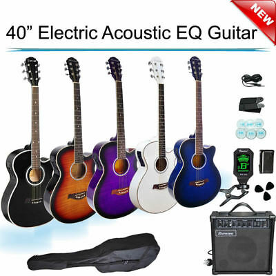 40-inch Cutaway Electric Acoustic EQ Guitar with Amp Tuner Tripod  Picks Bag