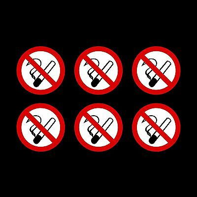 No Smoking Stickers - 75mm circle - Pack of 6, car, van, window, taxi, shop