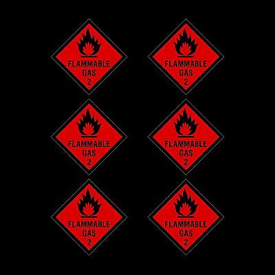 Flammable Gas Plastic Sign or Sticker - 100x100mm - *Pack of 6*